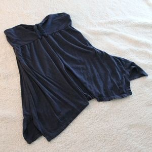 Strapless Flowing Navy Blue Top